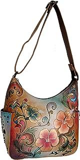 Anuschka Women's Genuine Leather Shoulder Bag   Hand Painted Original Artwork   Classic Hobo With Studded Side Pockets