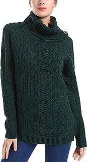 PrettyGuide Women's Turtleneck Sweater Cable Knit Button Tunic Pullover Tops