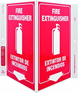 ZING 2614 Eco Safety V Sign, Fire Extinguisher Bilingual, 11Hx7Wx5D, Recycled Plastic