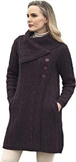 Women's Cable Knit Soft Collar 3 Button Coat (100% Merino...