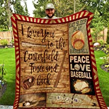 I Love You to The Centerfield Fence and Back Quilt SS166, King All-Season Quilts Comforters with Reversible Cotton King/Queen/Twin Size - Best Decorative Quilts-Unique Quilted for Gifts