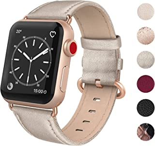 SWEES Leather Band Compatible for Apple Watch 38mm 40mm, Genuine Leather Elegant Replacement Strap Compatible iWatch Series 5, Series 4, Series 3, Series 2, Series 1, Sports & Edition Women, Champagne