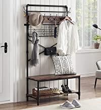 HOMYSHOPY Industrial Hall Tree Shoe Bench, 3 in 1 Entryway Coat Rack with Hanging Hooks, Bench and Storage Shelf for Hallw...