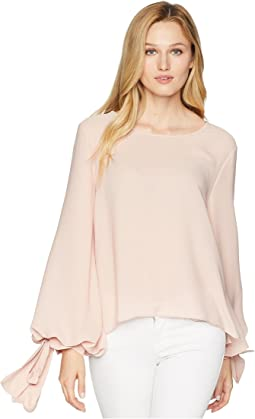 Tie Cuff Bubble Sleeve Blouse