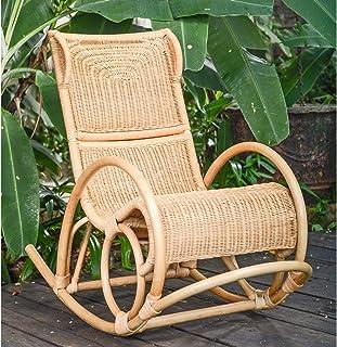 Casa Moro IDSSN75 Silla mecedora de mimbre natural, tejida a mano en mimbre natural, de primera calidad Silla de relajación de mimbre de estilo retro para el salón, la oficina y la terraza del jardín