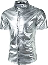 JOGAL Men's Dress Shirts Nightclub Metallic Silver Short Sleeve Button Down Shirts