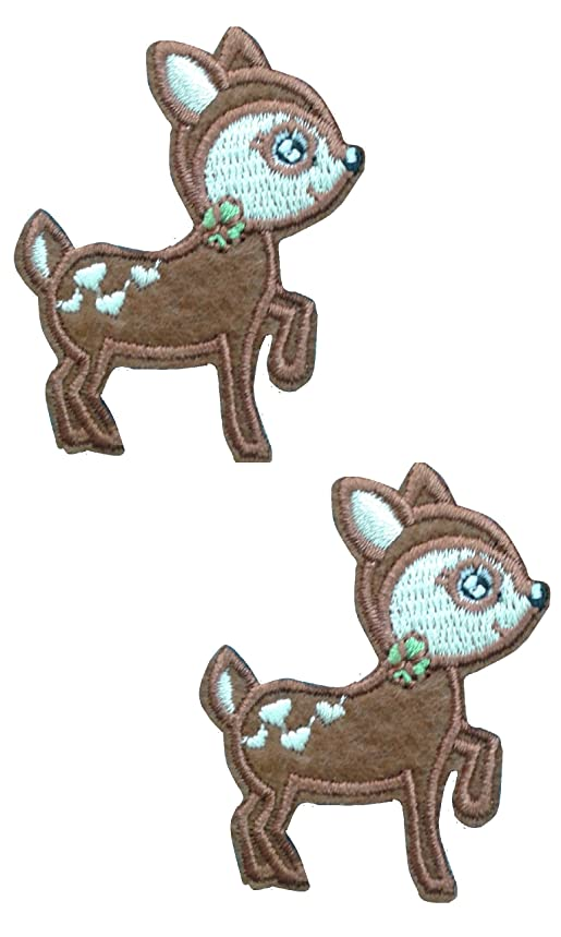 2 pieces Baby DEER Iron On Patch Applique Embroidered Motif Fabric Decal 2 x 1.6 inches (5 x 4 cm)