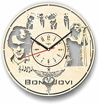Bon Jovi ボン・ジョヴィ木製掛け時計ー完璧で美しく作られたー現代アートで自宅を飾ろうー彼と彼女にユニークなギフトーサイズ12インチ(30 ㎝)