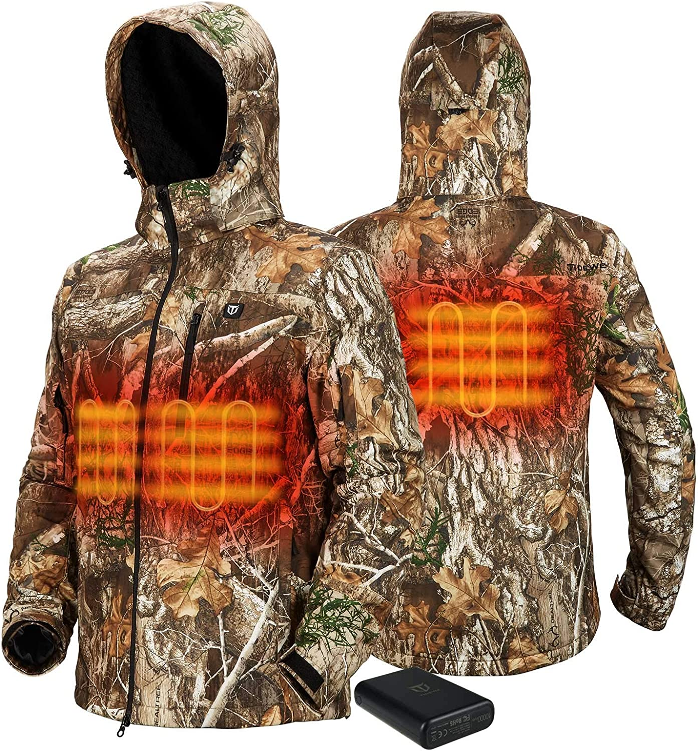 TIDEWE Heated Now on sale Jacket for Men Bargain with Black Camo Pack Battery Siz