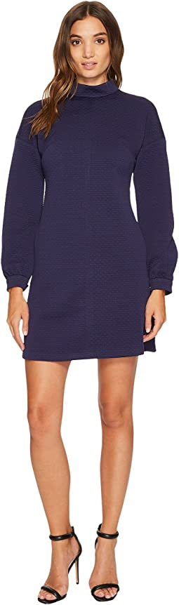 Donna Morgan - Long Sleeve Mock Neck A-Line Dress