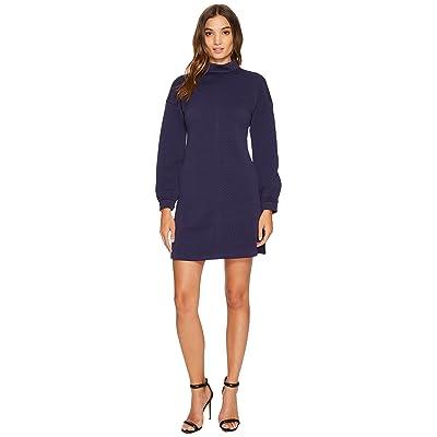 Donna Morgan Long Sleeve Mock Neck A-Line Dress (Uniform Navy) Women