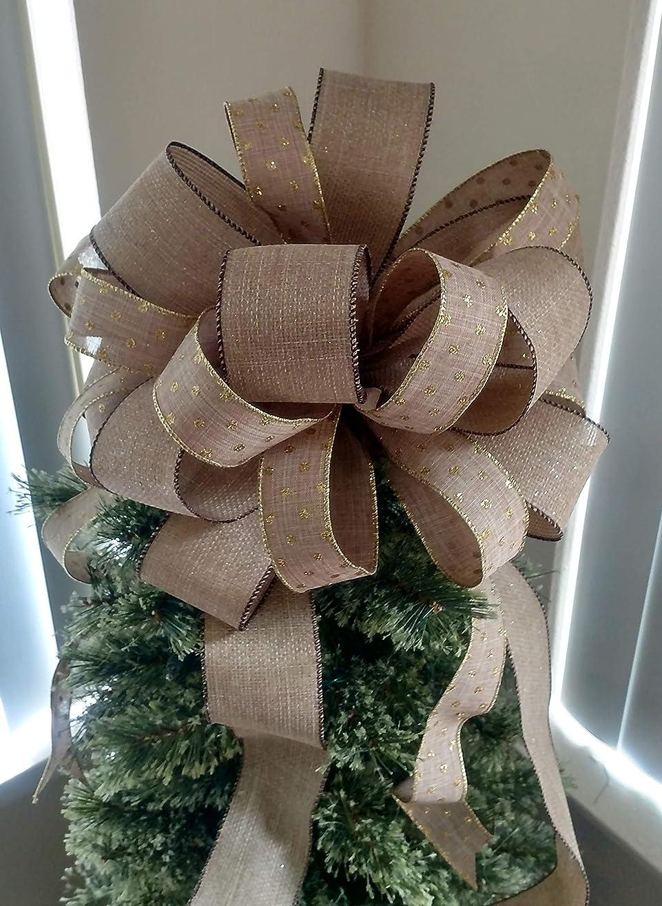 Large burlap Tree Topper Bow - Christmas Tree Topper - Christmas Decoration Bow - Brown Burlap and Gold Polka Dot Tree Tops