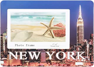 HANTAJANSS Metal Table Top New York Photo Frame with Bracket for Decoration 8 1/4