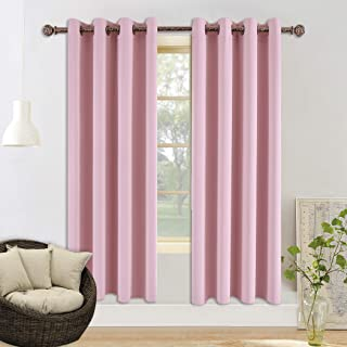 YGO Home Fashion Thermal Insulated Solid Grommet Top Blackout Curtains for Girls Bedroom Living Room Light Pink 52x84 inch 2 Panels