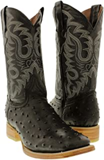 Texas Legacy - Men's Ostrich Quill Design Leather Cowboy Boots Square Toe