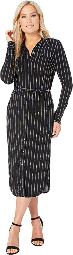 Petite Striped Jersey Shirtdress