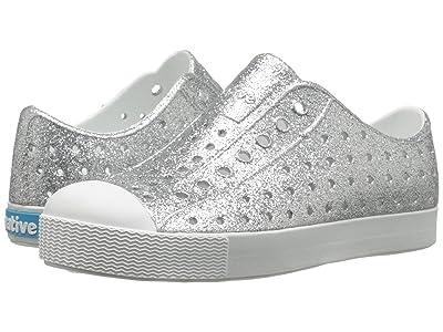 Native Kids Shoes Jefferson Bling Glitter (Little Kid) (Silver Bling/Shell White) Girls Shoes
