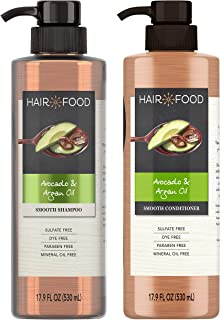 Hair Food Sulfate Free Smoothing Shampoo and Conditioner, Infused with Avocado & Argan Oil, Dye Free, 17.9 Oz, Bundle