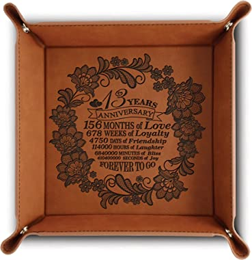 Bella Busta-13 Years Traditional Lace (Engraved Art Work Design) for 13th Anniversary-Engraved Leatherette Valet Tray (Rawhid