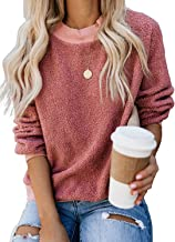 Kyerivs Women's Fuzzy Crewneck Pullover Long Sleeve Cozy Fluffy Warm Tops