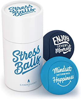Candescent Stress Ball - Hand Therapy Relief for Anxiety, Fidget, Tension, Exercise Strengthener- Motivational Toys for Adults & Kids - Set of 2
