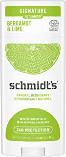 Schmidt's Aluminum Free Natural Deodorant for Women and Men, Bergamot + Lime with 24 Hour Odor Protection, Certified Cruel...