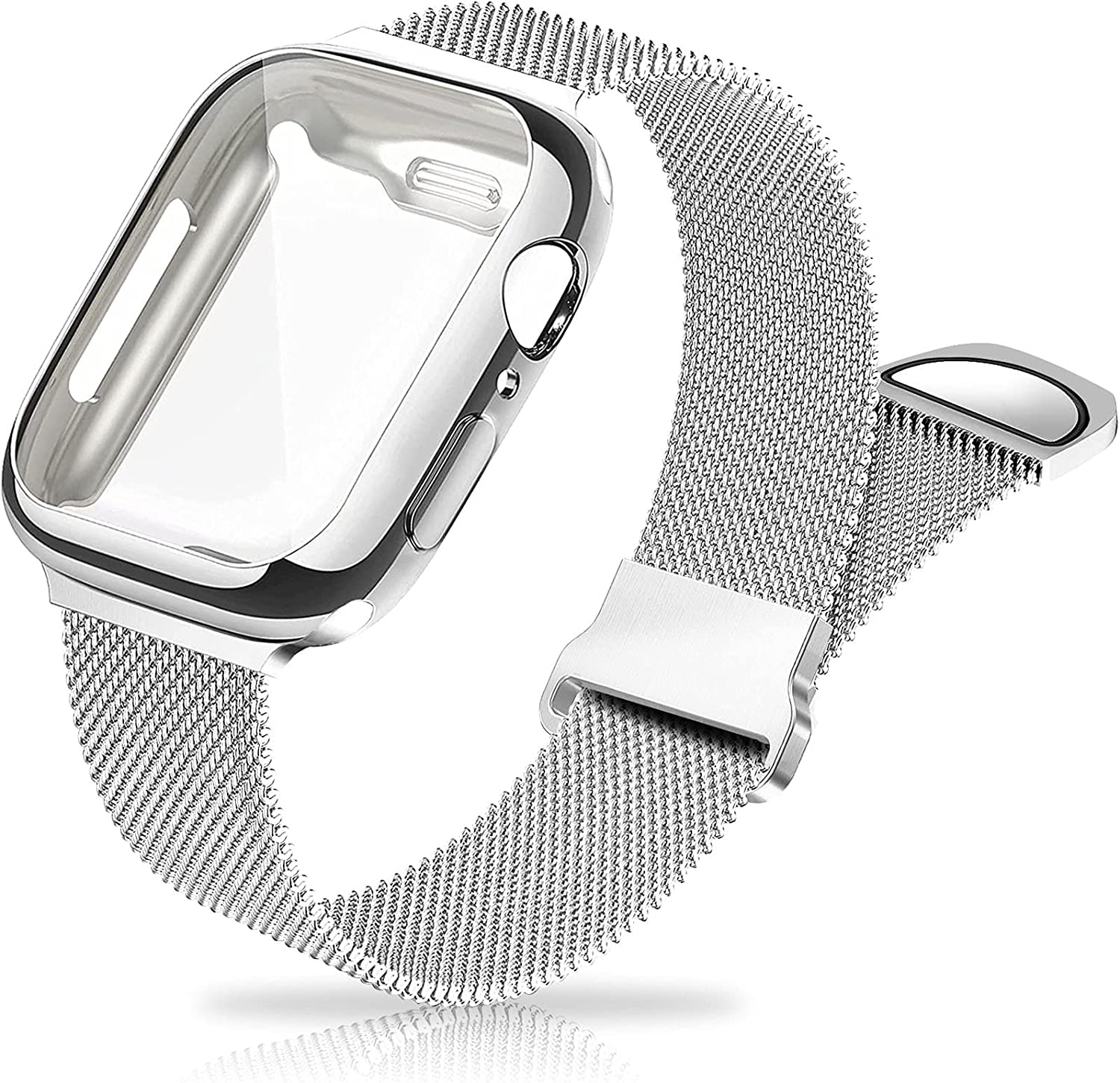 Metal Mesh Magnetic Bands Compatible for Apple Watch Band with Case, 44mm Stainless Steel Milanese Loop Replacement Strap for Women Men Compatible with iWatch Series SE/6/5/4,Silver