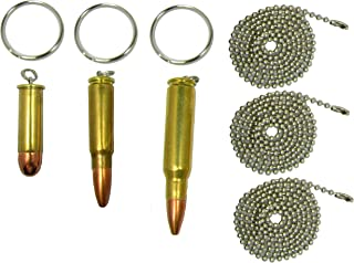 Set of Three Bullet Pendants, 308 Rifle, 7.62 Russian, 357 Magnum, with free Key Rings, Dogtag Necklaces