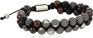 Mens Textured Design Labradorite and Garnet Beaded Double...