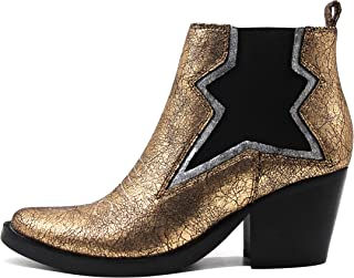 Cowboy Ankle Boot Chunky Block Stacked Heels Crackle Synthetic Leather (Rose Gold)