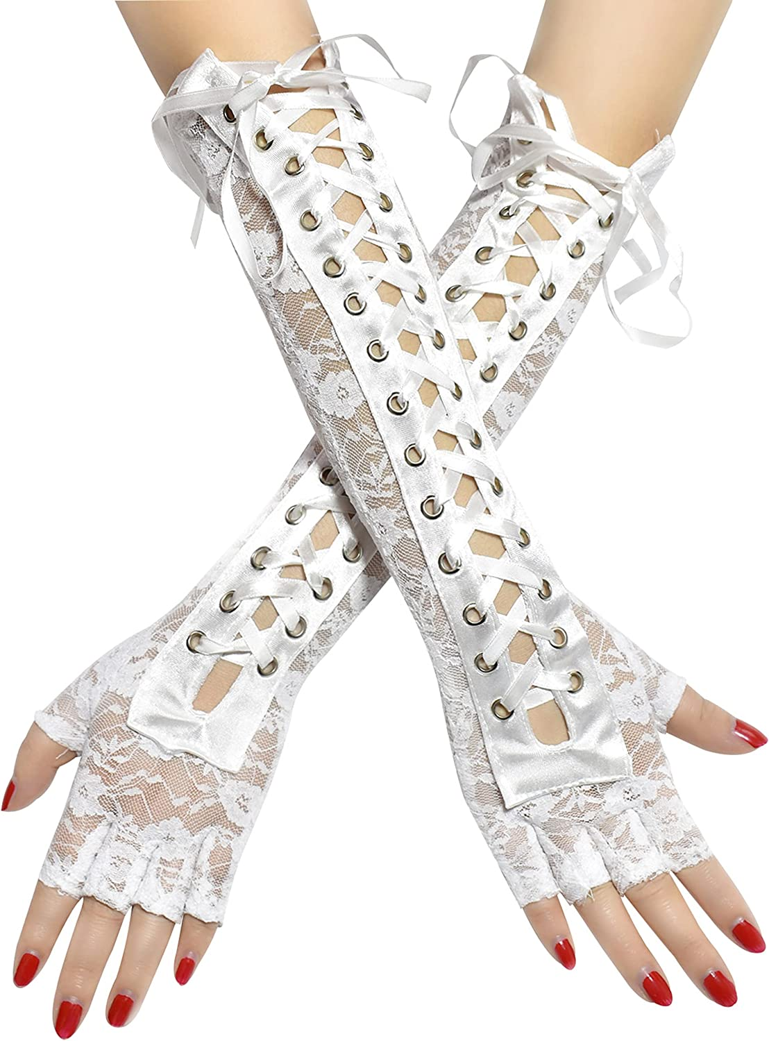 May&Maya Women's Lace Up Fingerless Gloves Long Elbow Gloves Lace-up Arm Warmer Halloween Party