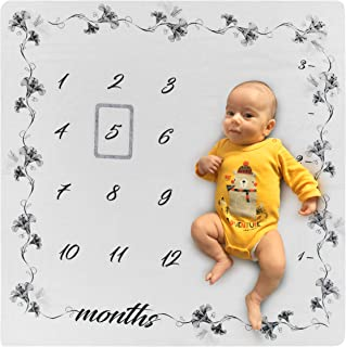 Organic Baby Monthly Milestone Blanket for Boy & Girl Unisex   Premium Soft Bamboo Fibers and Natural Cotton   Photography Background Prop for Newborn 1 to 12 Months   Baby Shower Box + frame + e-Book