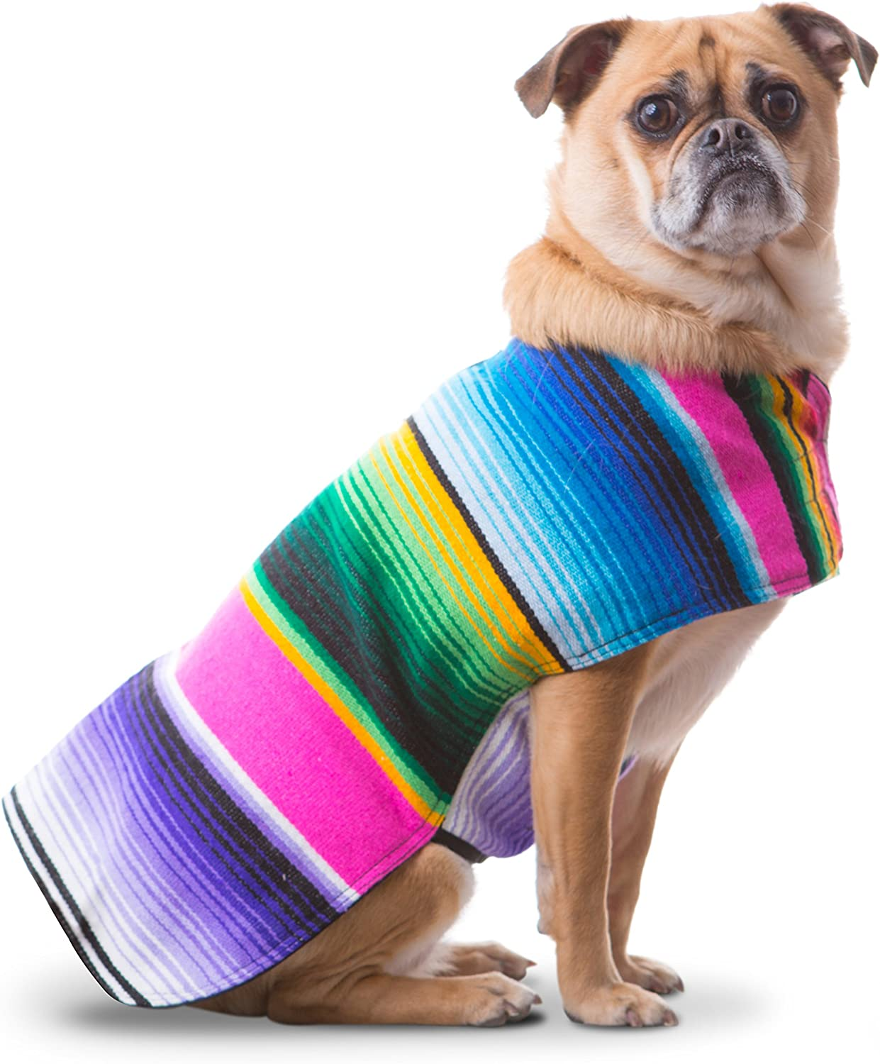 Baja Ponchos Dog Clothes  Handmade Dog Poncho from Authentic Mexican Blanket (Pink No Fringe, Medium)