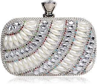 Clutch Handbag Silver Diamond Crossbody Bag Woman Gold Shoulder Bags Banquet Dinner Wallet Evening Dress Pocket Crystal Cosmetic Bag (15×5×9cm)