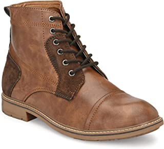Shences Men's Tan Faux Leather Casual Boots