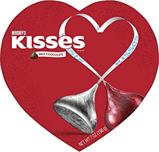 Hershey's KISSES Milk Chocolate Candy Valentine's Heart Box, 7 Ounce