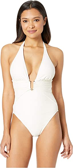 Pacific Wave Plunging Texture One-Piece