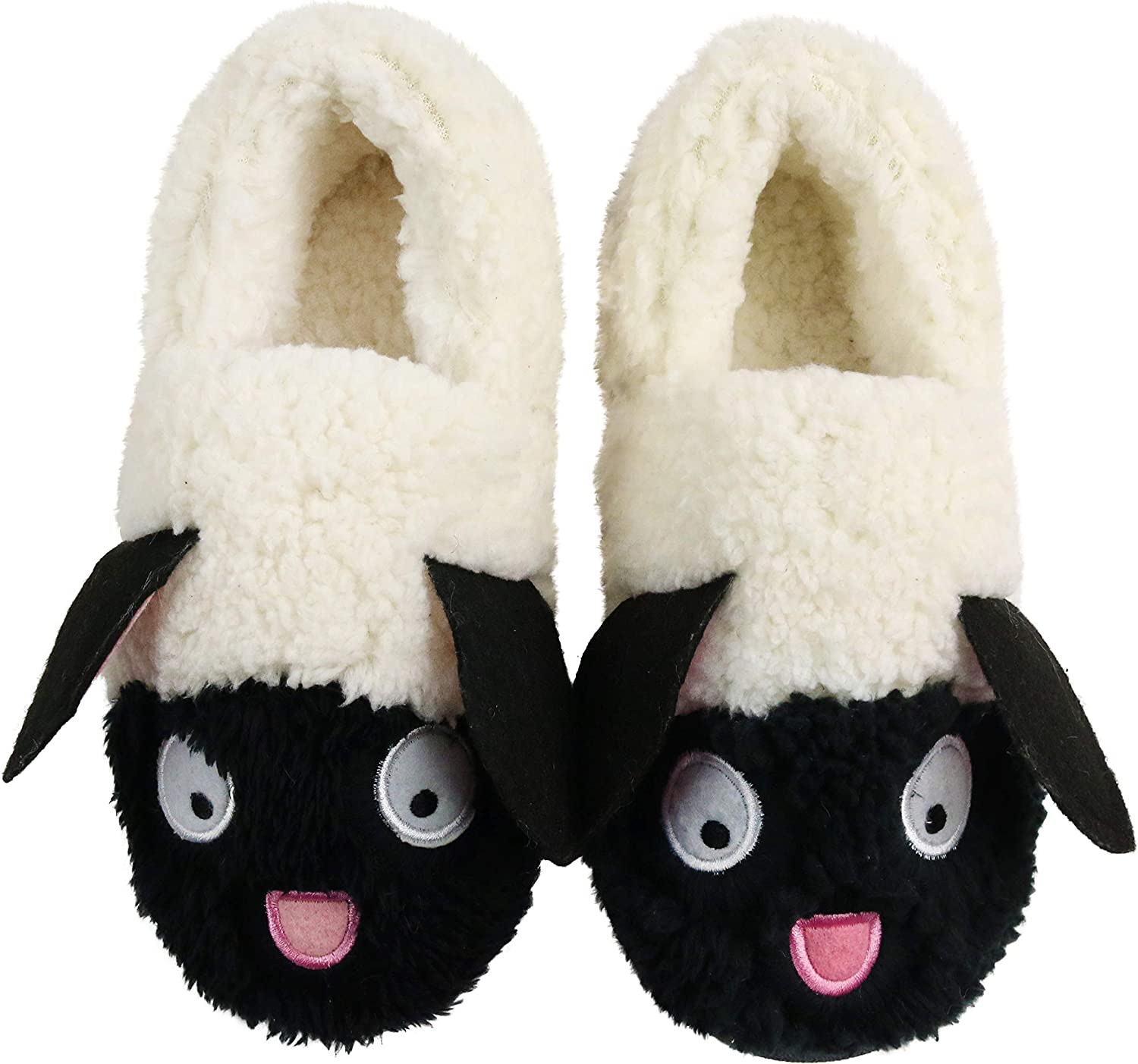 Komyufa Fuzzy Lamb Sheep Animal Slippers for Women Non-Slip Fluffy Memory Foam Cozy Home Shoes with Plush Fleece Lining Indoor Outdoor Slippers