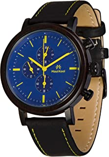Steel and Wood Hybrid Chronograph Watch for Men Wailea Collection Leather Band Bamboo Box