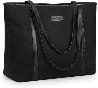 S-ZONE Damen Handtasche 15,6 Inch Laptoptasche Schultertasche Große Nylon Arbeit Shopper Reise Umhängetasche mit Rückseiti...