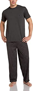 Nautica Men's Andaman Plaid Pant With Short Sleeve Charcoal Tee Boxed Gift Set