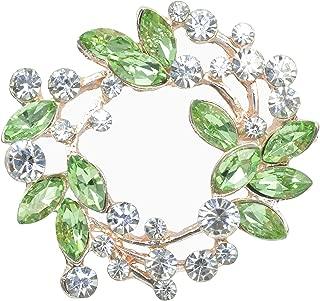 Clear Crystal Rhinestone Floral Wreath Pin Brooch BZ005