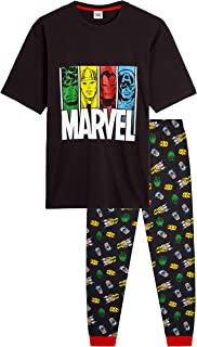 MARVEL Pyjamas for Men, 100% Cotton Lounge Wear, Official Merchandise, Novelty Loungewear Set with T Shirt Featuring Hulk,...