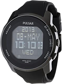 Men's Black Ion Finish Digital World Time Chronograph