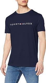 تي شيرت بشعار وقبة دائرية واكمام قصيرة للرجال من تومي هيلفجر