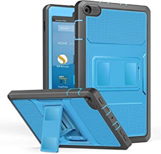 MoKo Case for All-New Amazon Fire HD 8 Tablet (7th/8th Generation, 2017/2018 Release) - [Heavy Duty] Shockproof Full Body Rugged Cover with Built-in Screen Protector for Fire HD 8, Blue & Dark Gray
