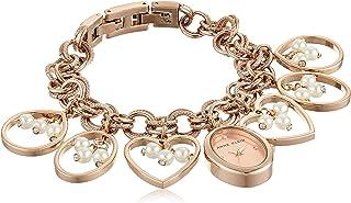 Anne Klein Women's Swarovski Crystal Accented Rose Gold-Tone Charm Bracelet Watch, AK/3562RGCH