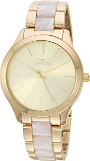 Invicta Women's Angel Quartz Watch with Stainless-Steel Strap, Gold, 18 (Model: 20496)
