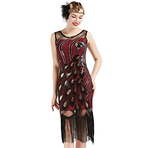 4a70327095ce BABEYOND 20's Vintage Peacock Sequin Fringed Party Flapper Dress