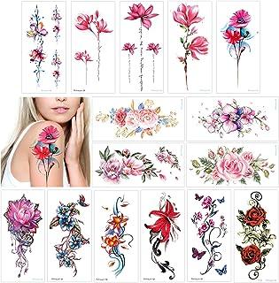 Konsait 15 Blatt Große Blume Temporäre Tattoos Klebetattoo